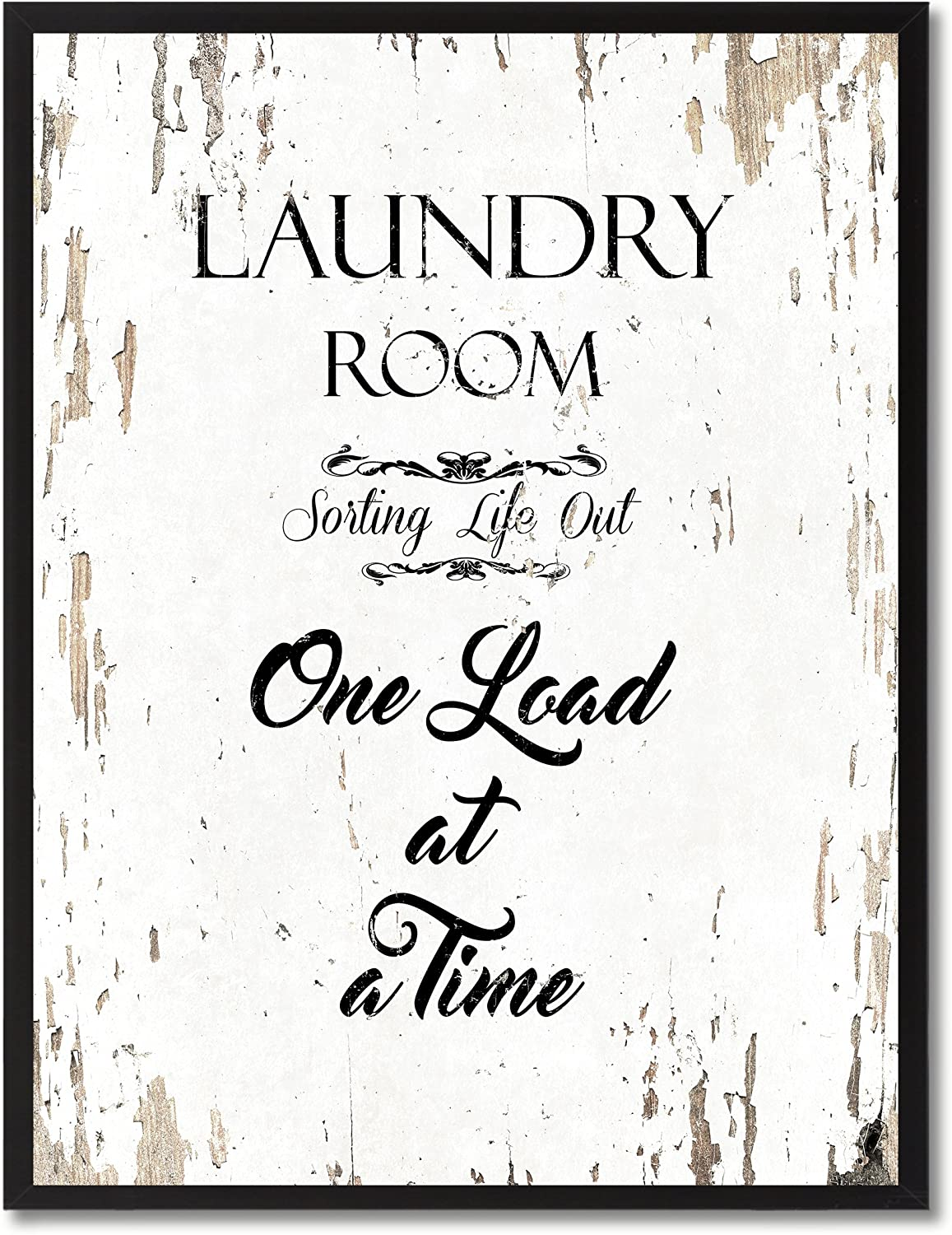 """SpotColorArt Laundry Room Sorting Life Out One Load at A Time Framed Canvas Art, 7"""" x 9"""", White"""