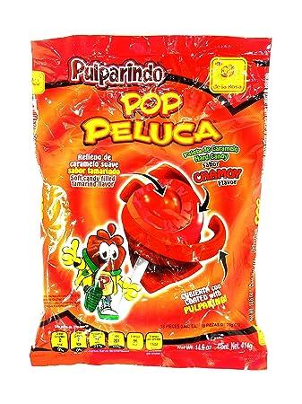 de la Rosa Pulparindo Pop Peluca sabor CHAMOY flavor 14.6 oz bag