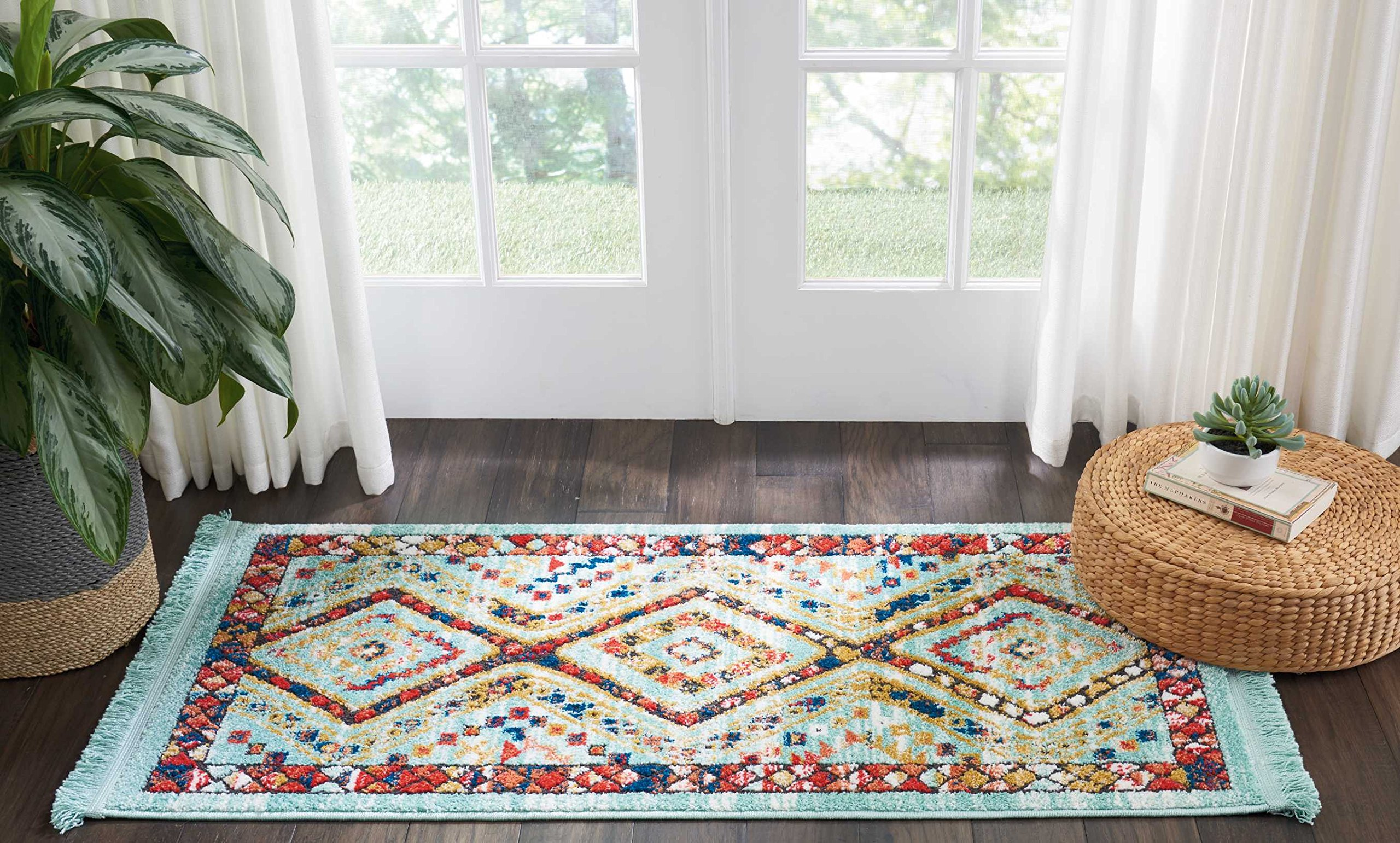 """Nourison Tribal Décor Traditional Colorful Aqua Area Rug 2 Feet 2 Inches by 4 Feet 3 Inches, 2'2""""X4'3"""" - Machine Woven Made in Turkey Care: Professional Dry Cleaning - living-room-soft-furnishings, living-room, area-rugs - 91c5K6j7f9L -"""