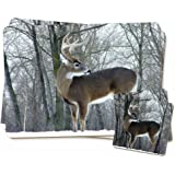 Deer Stag in Snow Twin Coaster and Placemat Set, Ref:ADE-1PC