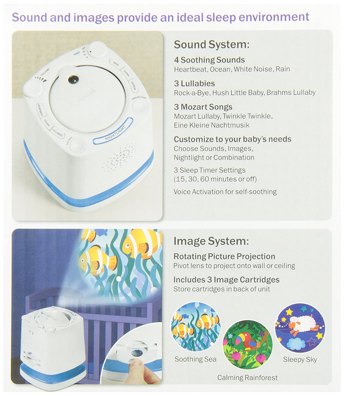 Munchkin Nursery Projector And Sound System White Lf Noise Generator Electronics Project Therapy Products Baby