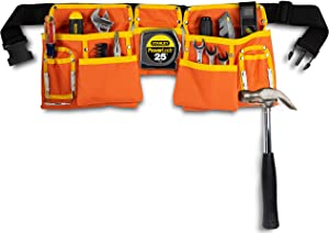 11 Pocket Orange and Yellow Heavy Duty Construction Tool Belt, Work Apron, Tool Pouch, with Adjustable Poly Web Belt Quick Release Buckle