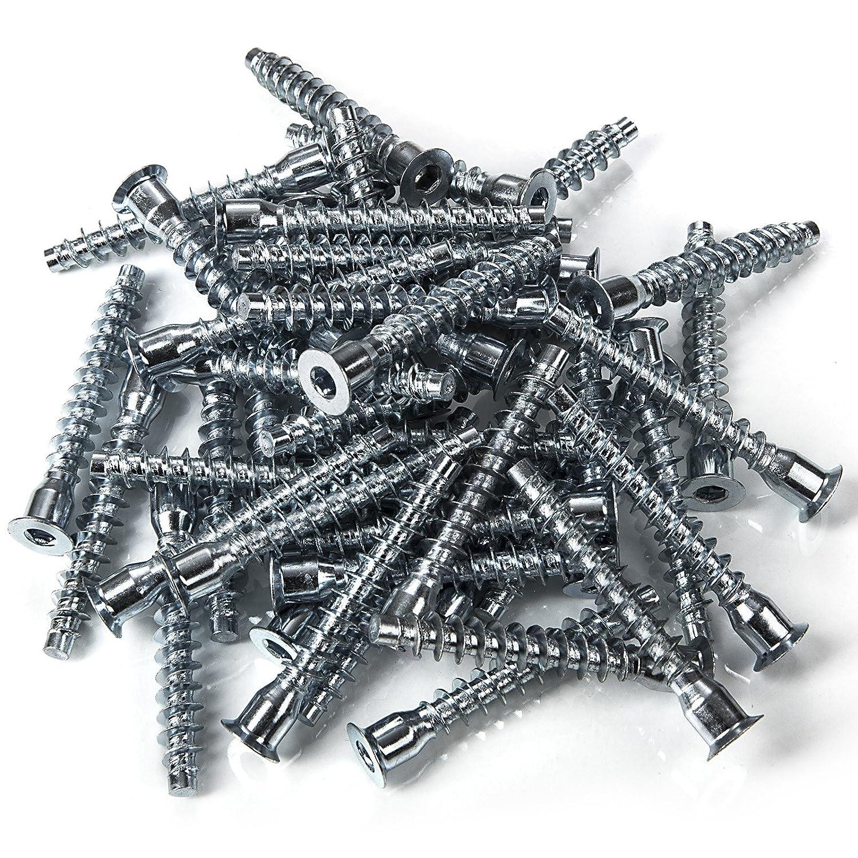 100 Stück SO-TECH® Schrankverbinder Schraube Schrauben für Korpusverbindung Möbel Eckverbindung 6, 3 x 50 mm | Eisen verzinkt | Antrieb: Inbus (HEX 4) SOTECH