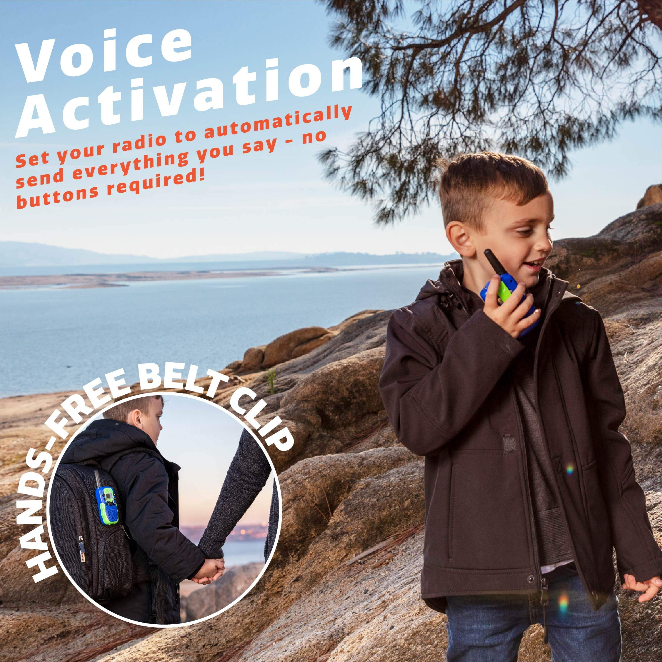 USA Toyz Walkie Talkies for Kids Vox Box Kids Walkie Talkies for Boys Or Girls, Voice Activated Long Range Outdoor Toys Walkie Talkie Set (Blue/Green) by USA Toyz (Image #3)