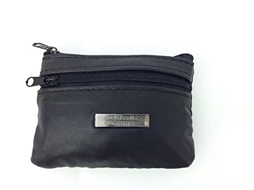 MENS LADIES SOFT BLACK LEATHER COIN POUCH PURSE WALLET