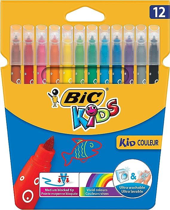Bic Kids - Pack de 12 bolígrafos de fieltro lavables y medianos ...
