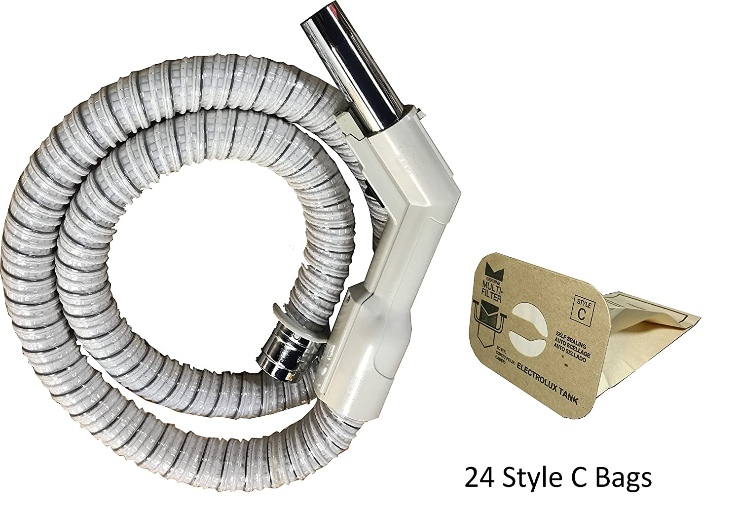 Electrolux Hose with Metal Machine End (Electrolux Hose W/24 C Bags Bundle) Aftermarket Replacement