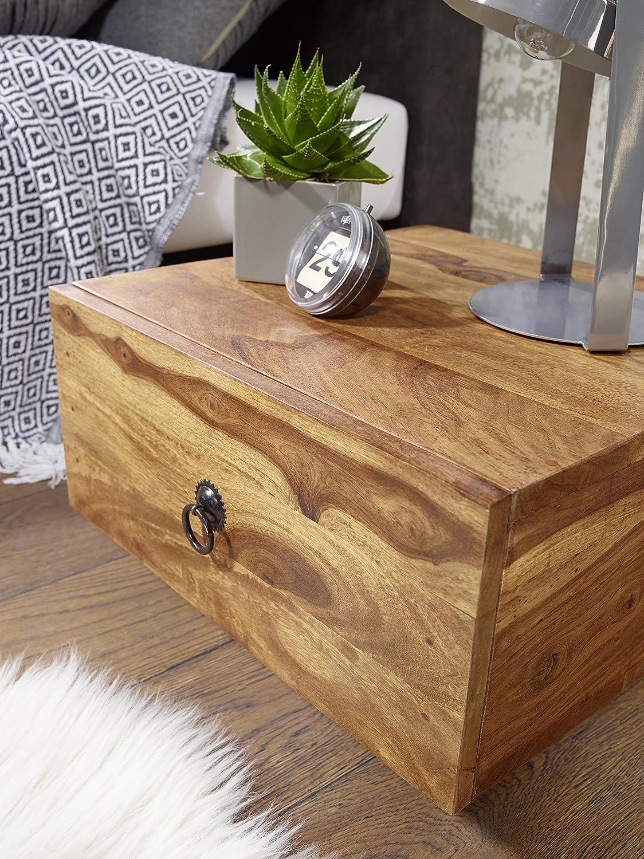 WOHNLING Nachttisch Massiv-Holz Sheesham Design Nacht-Kommode 25 cm hoch mit mit mit Schublade Nachtschrank Natur-Holz 40 x 40 cm Nachtköstchen dunkel-braun Deko Nachtkonsole Landhaus-Stil Schlafzimmer-Möbel 60961e