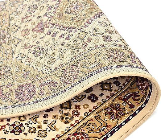 Cristina Carpets Lot de 2 descentes de lit Motif Classique Diamant 120 x 60 cm Dessin stylis/é Fond Beige Chambre