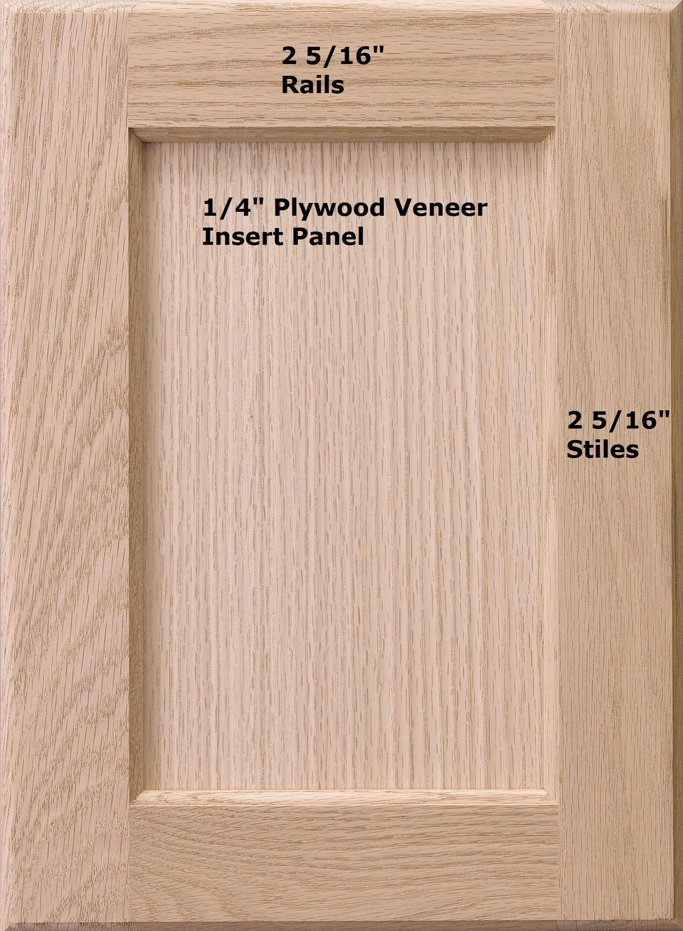 Cabinet Doors 'N' More 13'' x 22'' Unfinished Red Oak Recess Panel Kitchen Cabinet Door
