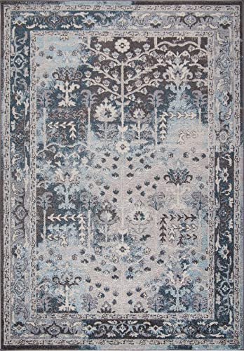 Ladole Rugs Pacific Cream Brown Blue Bordered Vintage Style Area Rug 7'10″ X 10'5″ Approx. 8