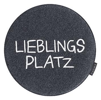 Stuhlkissen Lieblingsplatz  Ø35cm rund Filzoptik Grau Avaro Sitzkissen