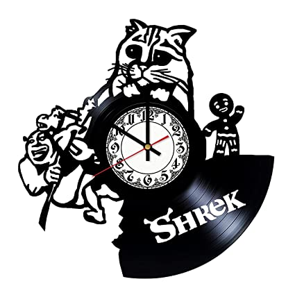 Amazon Com Shrek Puss In Boots Design Vinyl Clock Vinyl Wall Clock