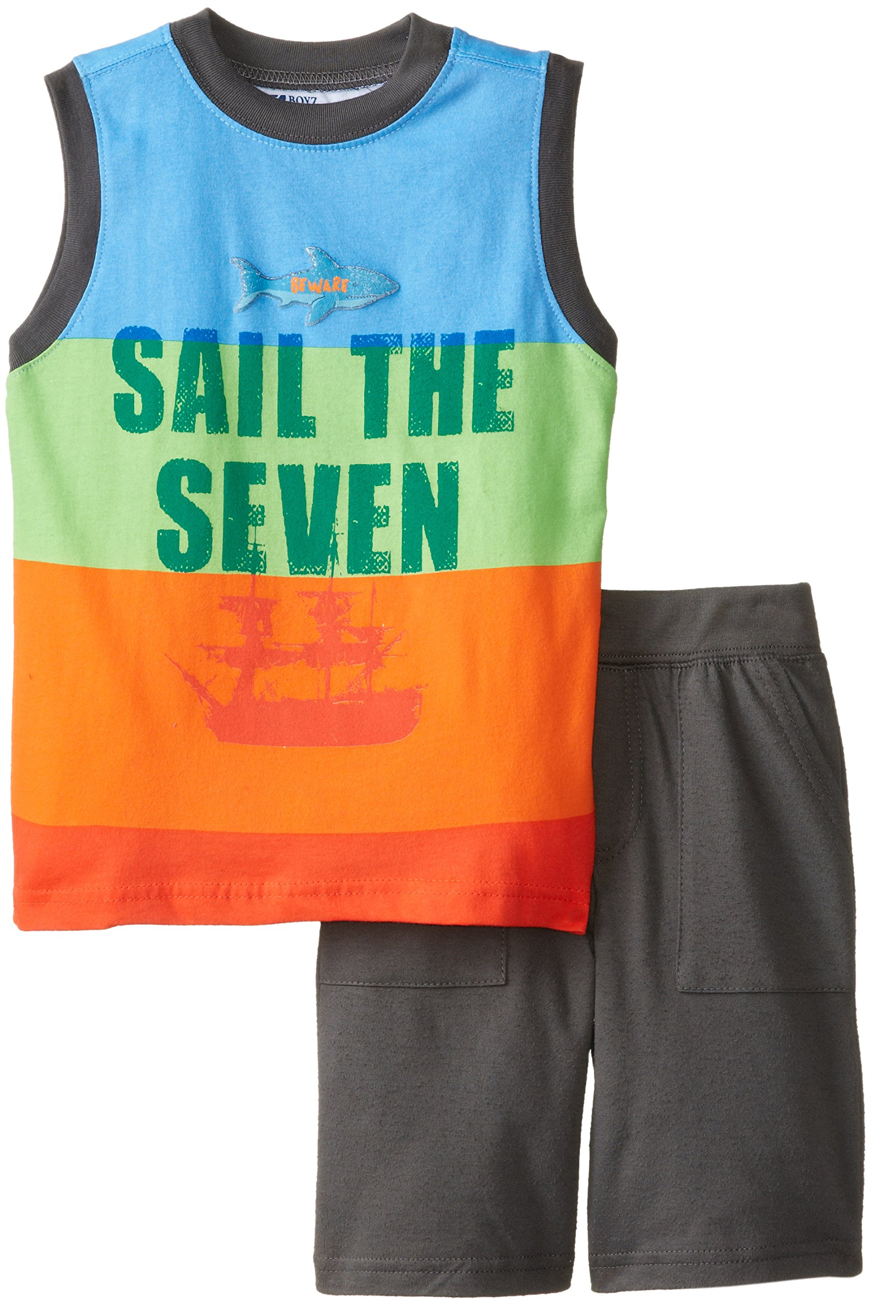 Nannette Little Boys' 2 Pieced Sail The Seven Tank and Short, Blue, 5