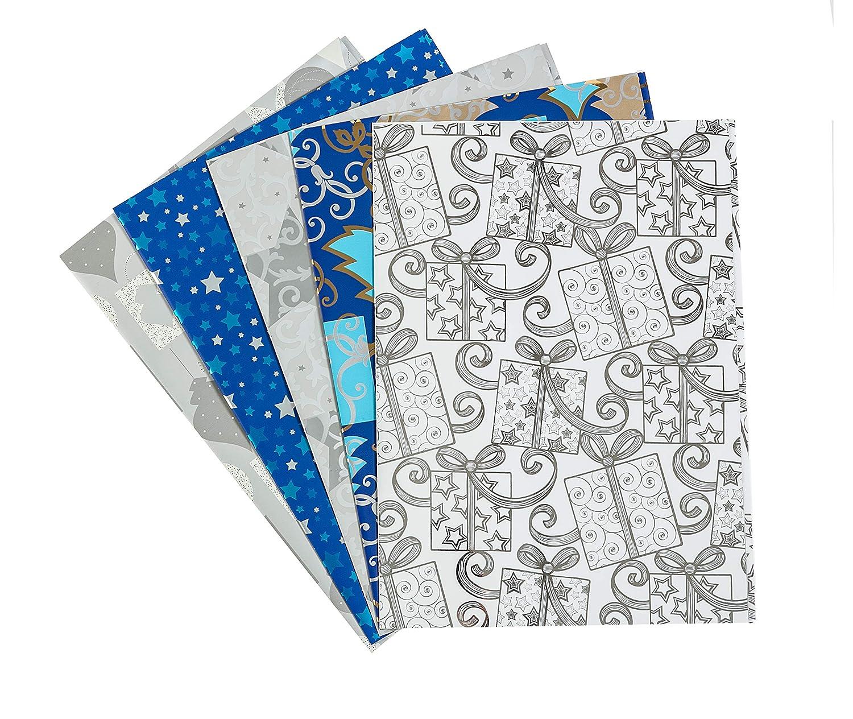 Metallizzata Carta Regalo 70 x 100 cm Motivi Natale Amazing Pack Scatola da 50 Fogli Piegati