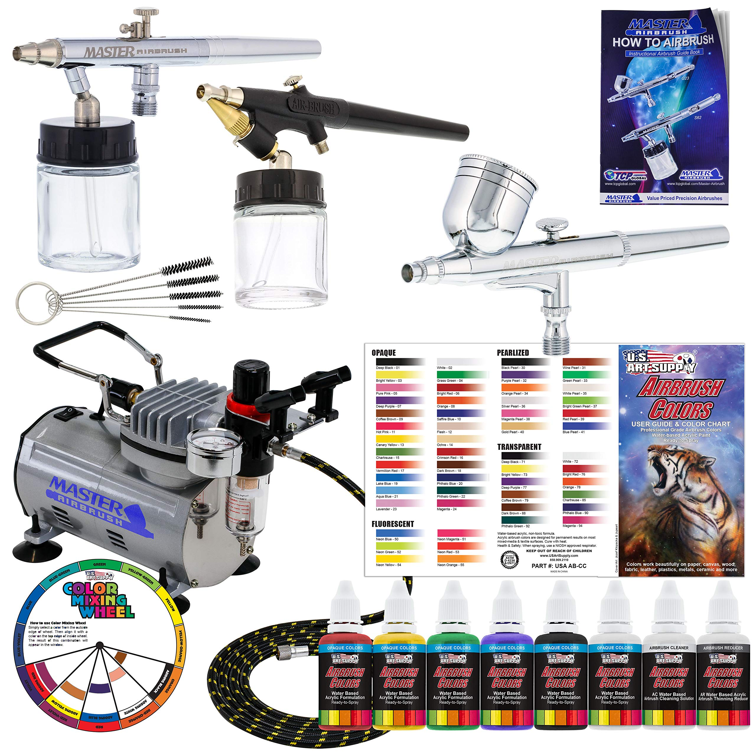 3 Airbrush Professional Master Airbrush Airbrushing System Kit with 6 U.S. Art Supply Primary Colors Acrylic Paint Artist Set - G22, S68, E91 Gravity & Siphon Feed Airbrushes and Air Compressor