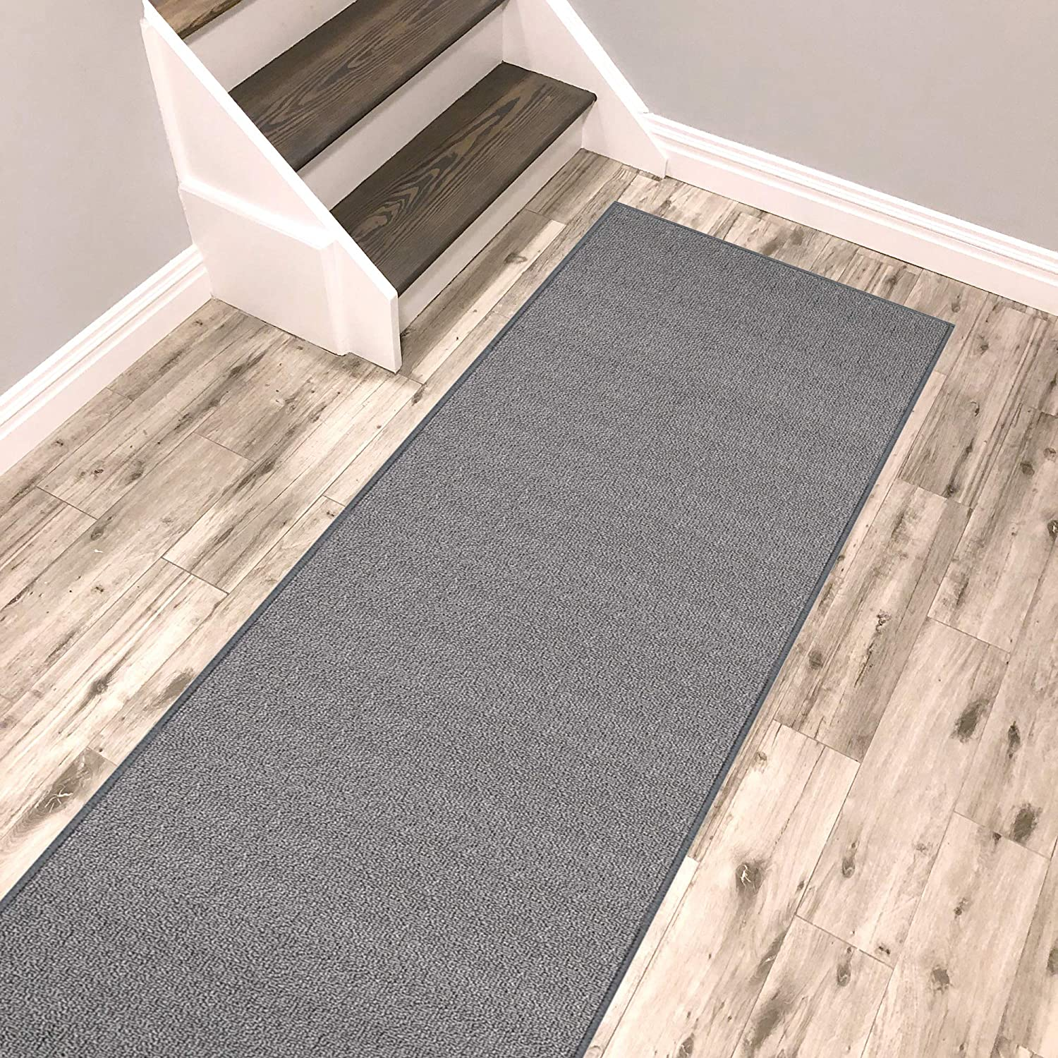 Kapaqua Solid Grey Ranking integrated 1st place Runner Rug Non Friendl Pet Super sale Rubber Backed Slip