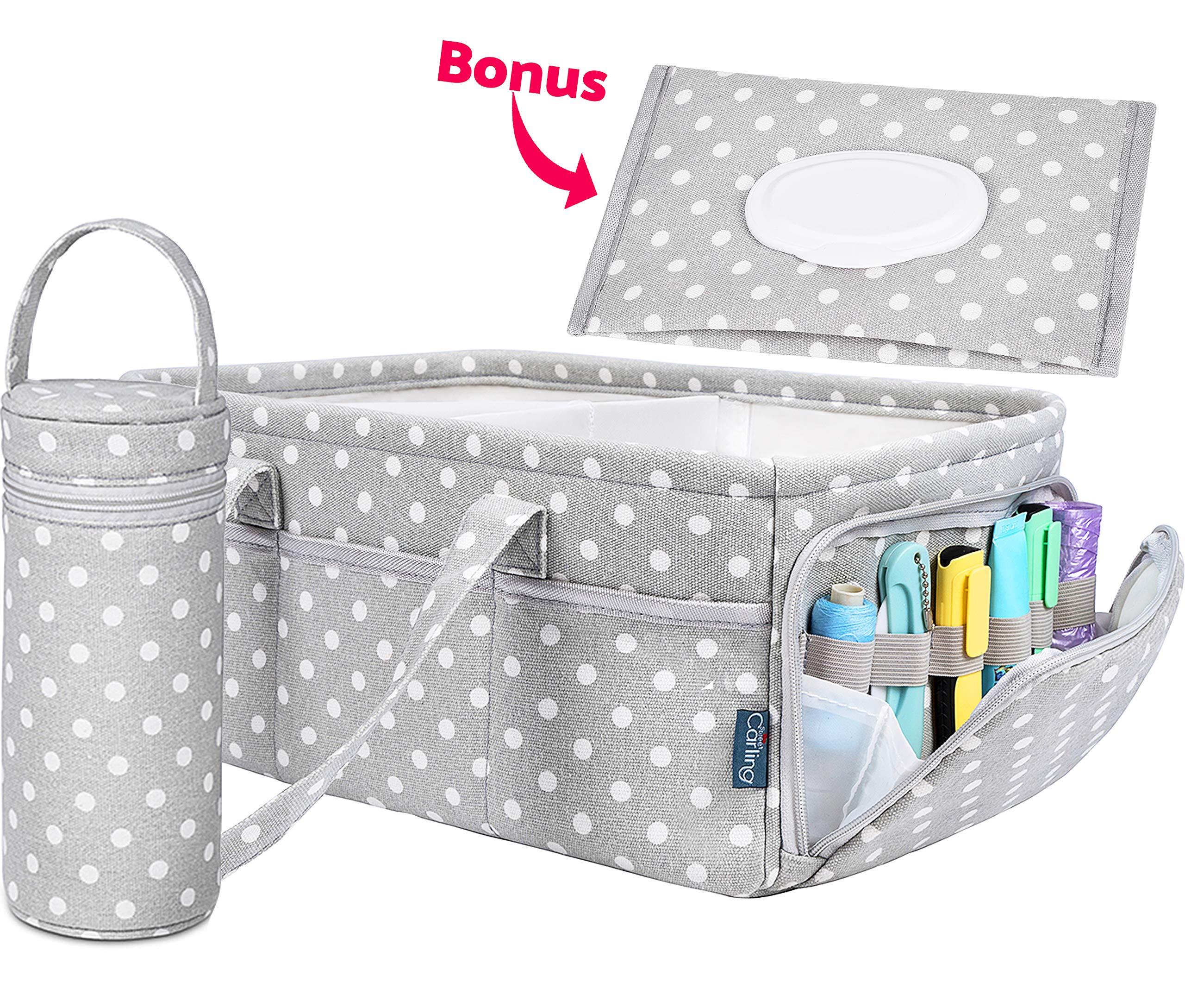 Baby Diaper Caddy Organizer | Baby Shower Registry Must Haves For Boy Girl Gifts Newborn Essentials Basket | Nursery Decor Changing Table Storage For New Mom With Bottle Cooler Bag by Sweet Carling