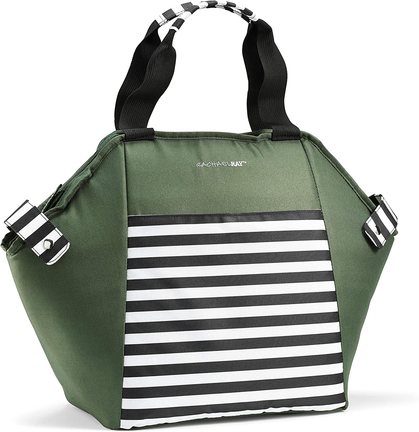 Rachael Ray Hexagon Cooler Tote, Large Insulated Bag for Groceries, Shopping, Beach, Camping and More, Zipper Top, Green with Black Nautical Stripes