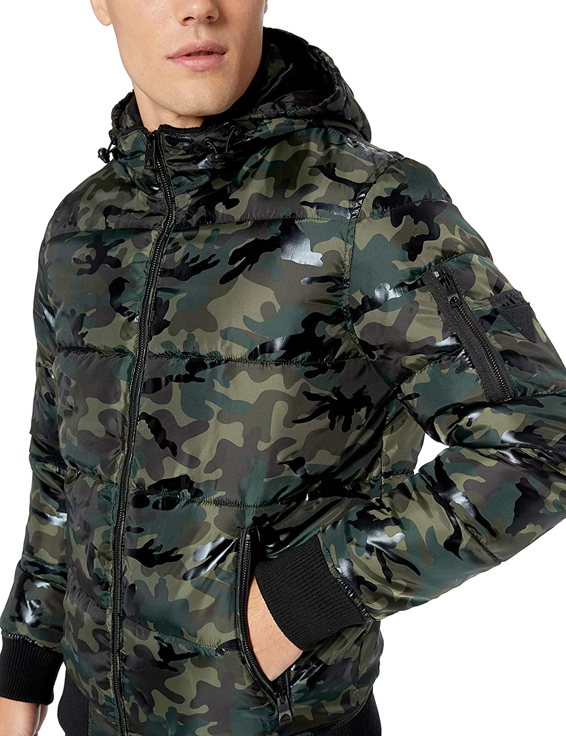 GUESS Mens Print Hooded Puffer Jacket