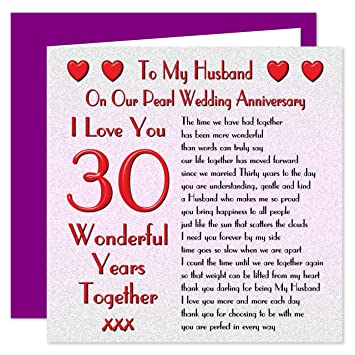 my husband 30th wedding anniversary card on our pearl anniversary