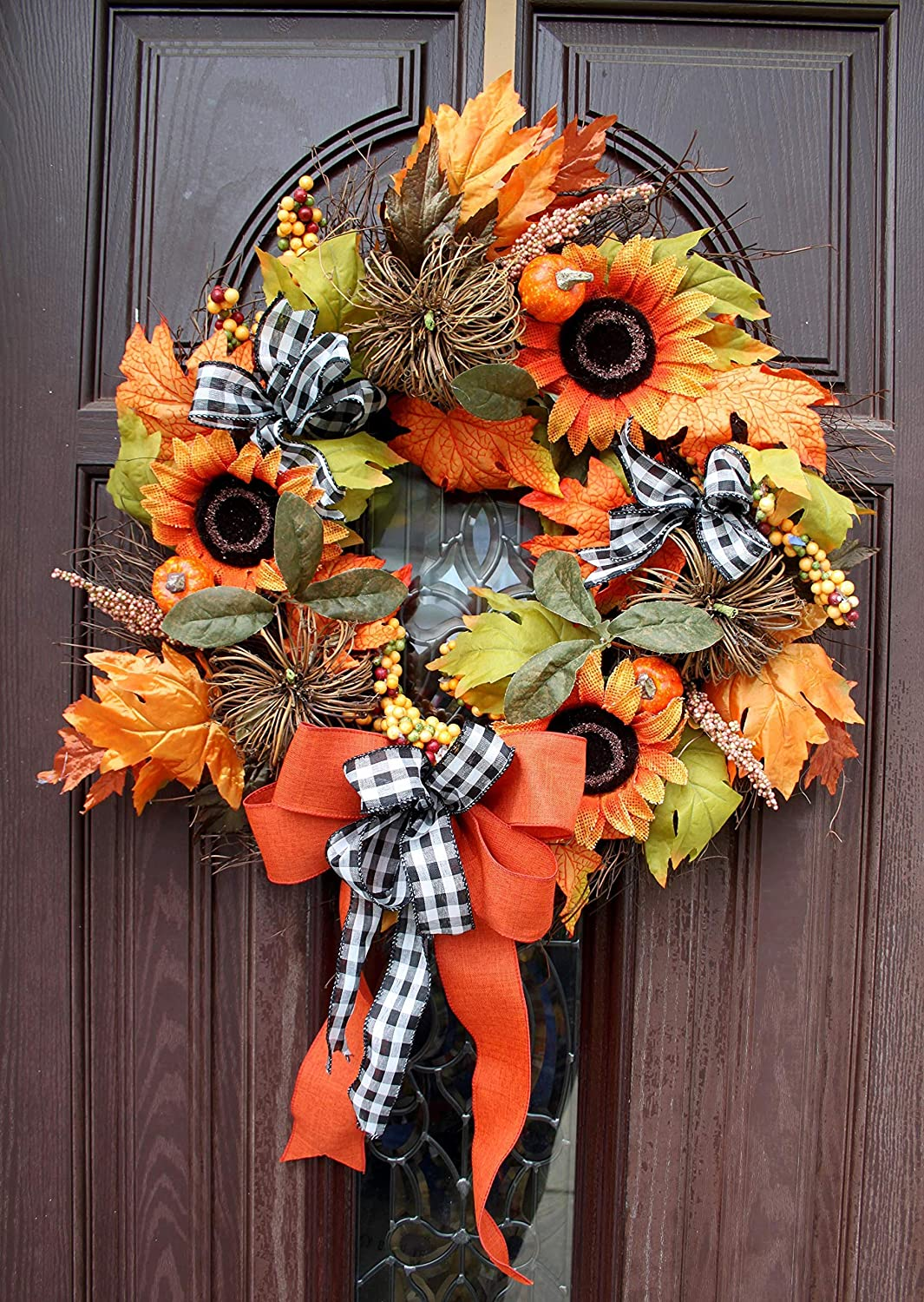 Front door wreaths for fall with vine pumpkins sunflowers buffalo plaid wired ribbon berries fall foliage