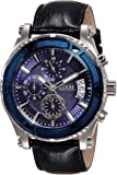 Guess Men's 46.5mm Black Leather Band Steel Case Quartz Blue Dial Analog Watch W0673G4
