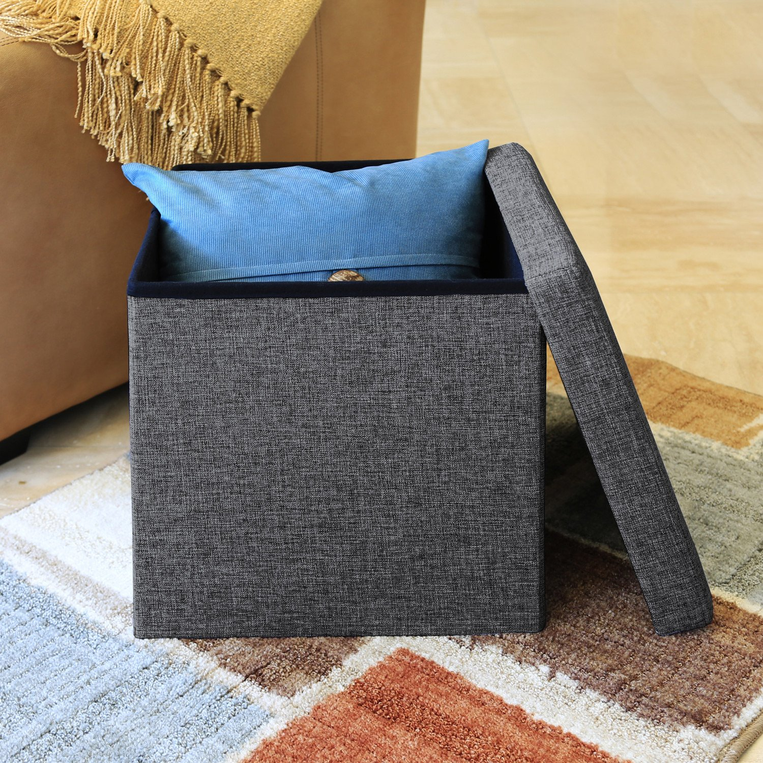 Seville Classics Foldable Storage Ottoman, Charcoal Gray