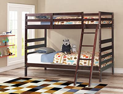 Merax Solid Wood Twin over Twin Bunk Bed (Espresso)