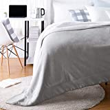 AmazonBasics Ultra-Soft Micromink Sherpa College Dorm Blanket - Throw, Grey