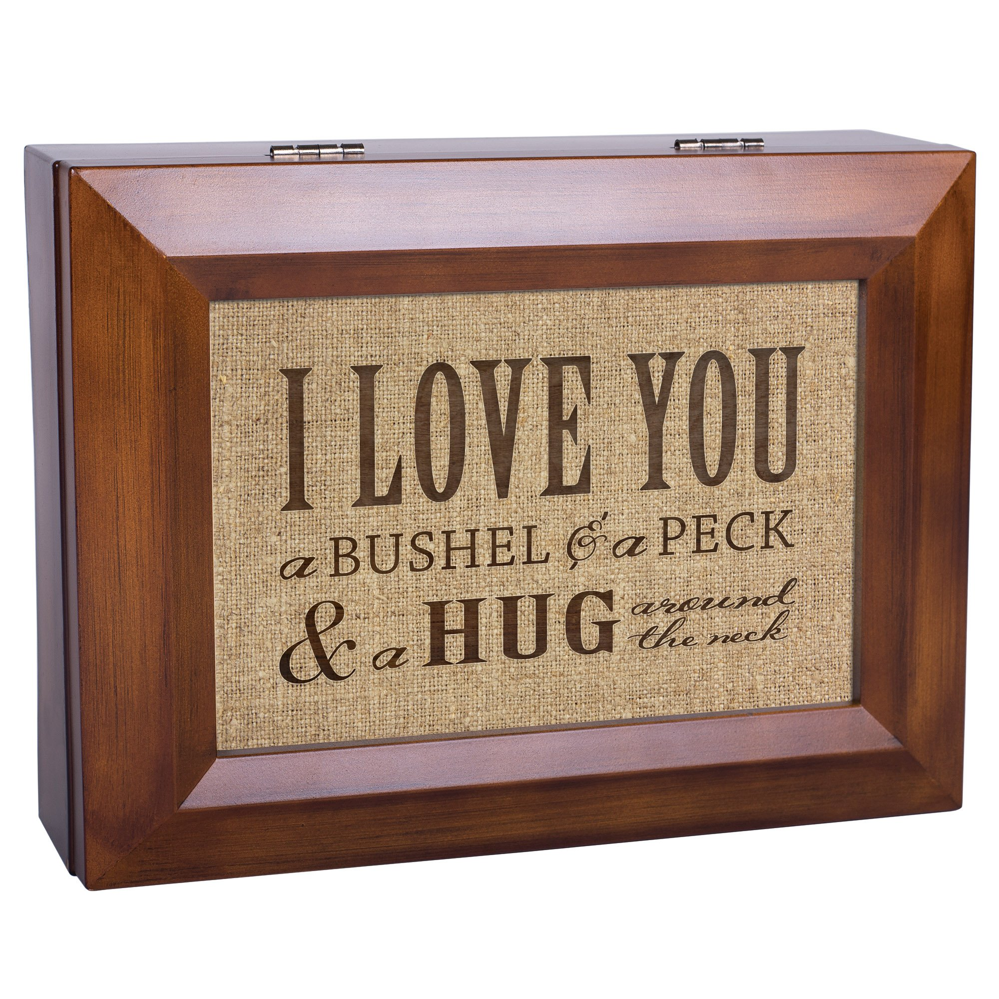 I Love You A Bushel & A Peck Wood Finish Jewelry Music Box - Plays Tune You Are My Sunshine by Cottage Garden (Image #3)