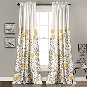 "Lush Decor Aprile Room Darkening Window Curtain Panel Set, 84"" x 52"" + 2"", Yellow/Gray"