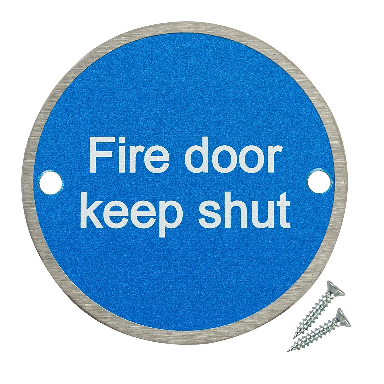 Fire Door Guru/® Fire Door Keep Shut Safety Sign Fixings Included 76mm Disc 1 VAT Registered Stainless Steel