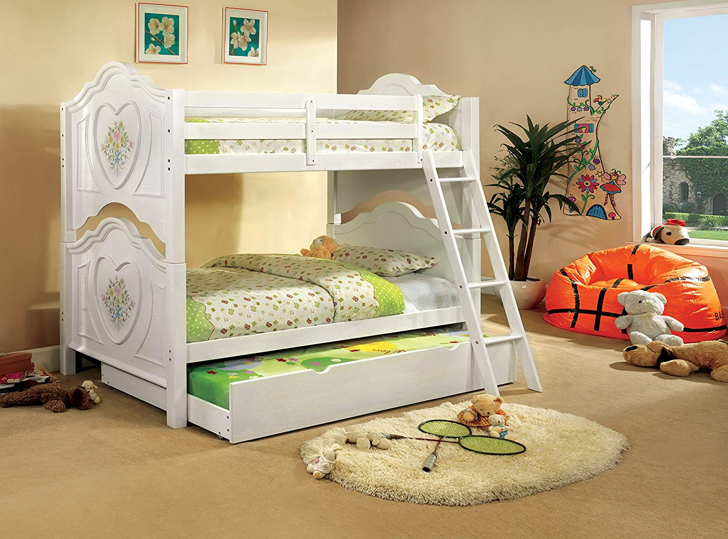 Hailey Bunk Bed & Trundle Set, Twin, White
