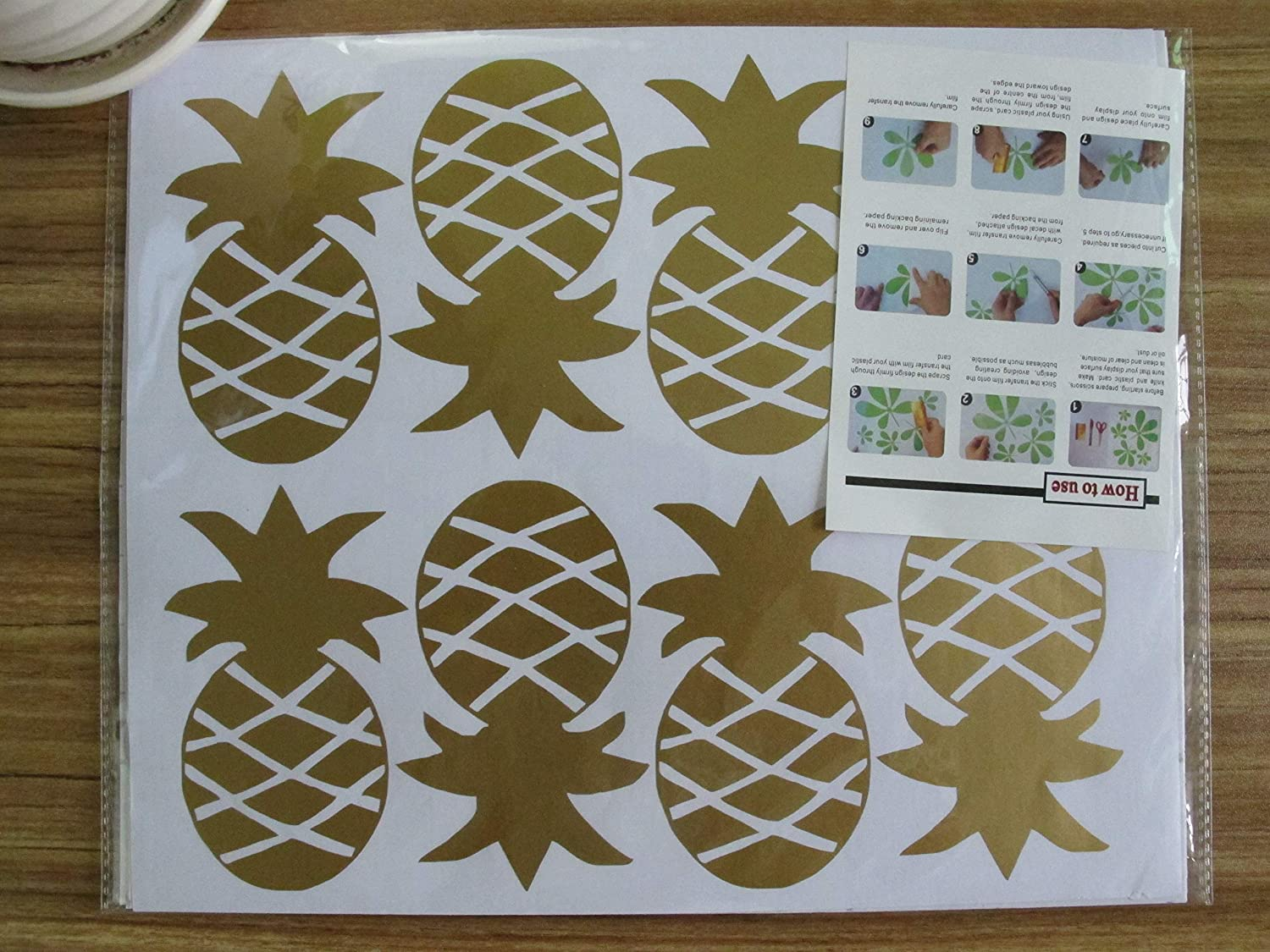 Gold Melissalove Set of 32 Pcs Pineapple Wall Stickers for Kids ...
