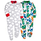 HONGLIN Baby Girls Boys 2-Pack Footed Baby Pajamas Sleepers Rompers 100% Cotton with Non-Slipping Sole