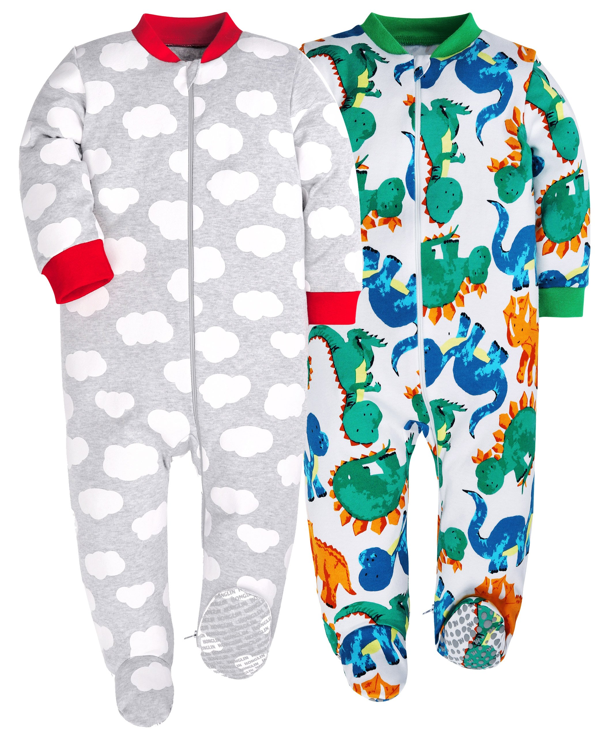 HONGLIN Baby Boys 2-Pack Footed Baby Pajamas Sleepers Rompers 100% Cotton Non-Slipping Sole (Dinosaur+Plane, 12-18 Months)