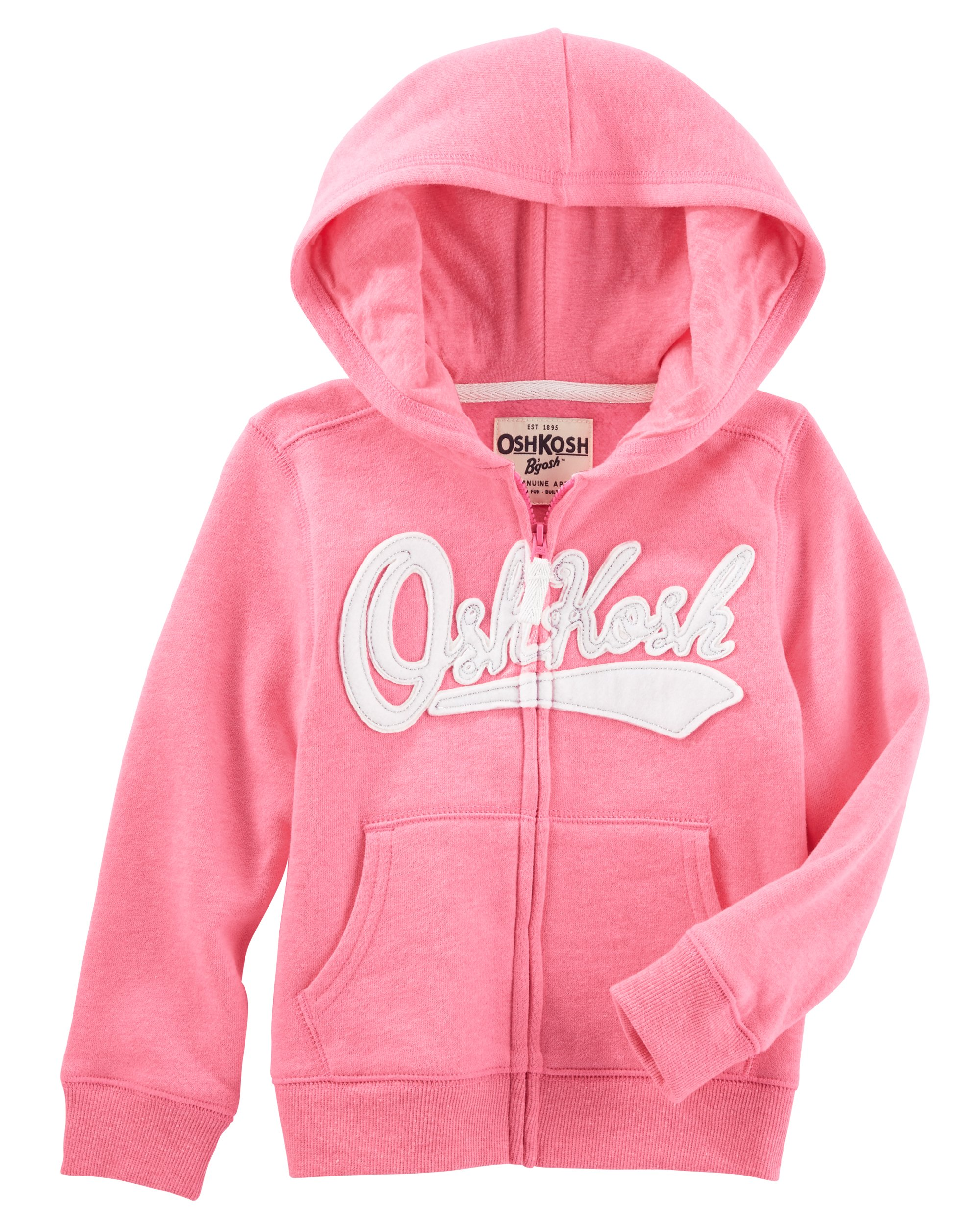 Osh Kosh Girls' Kids Full Zip Logo Hoodie, Pink, 4