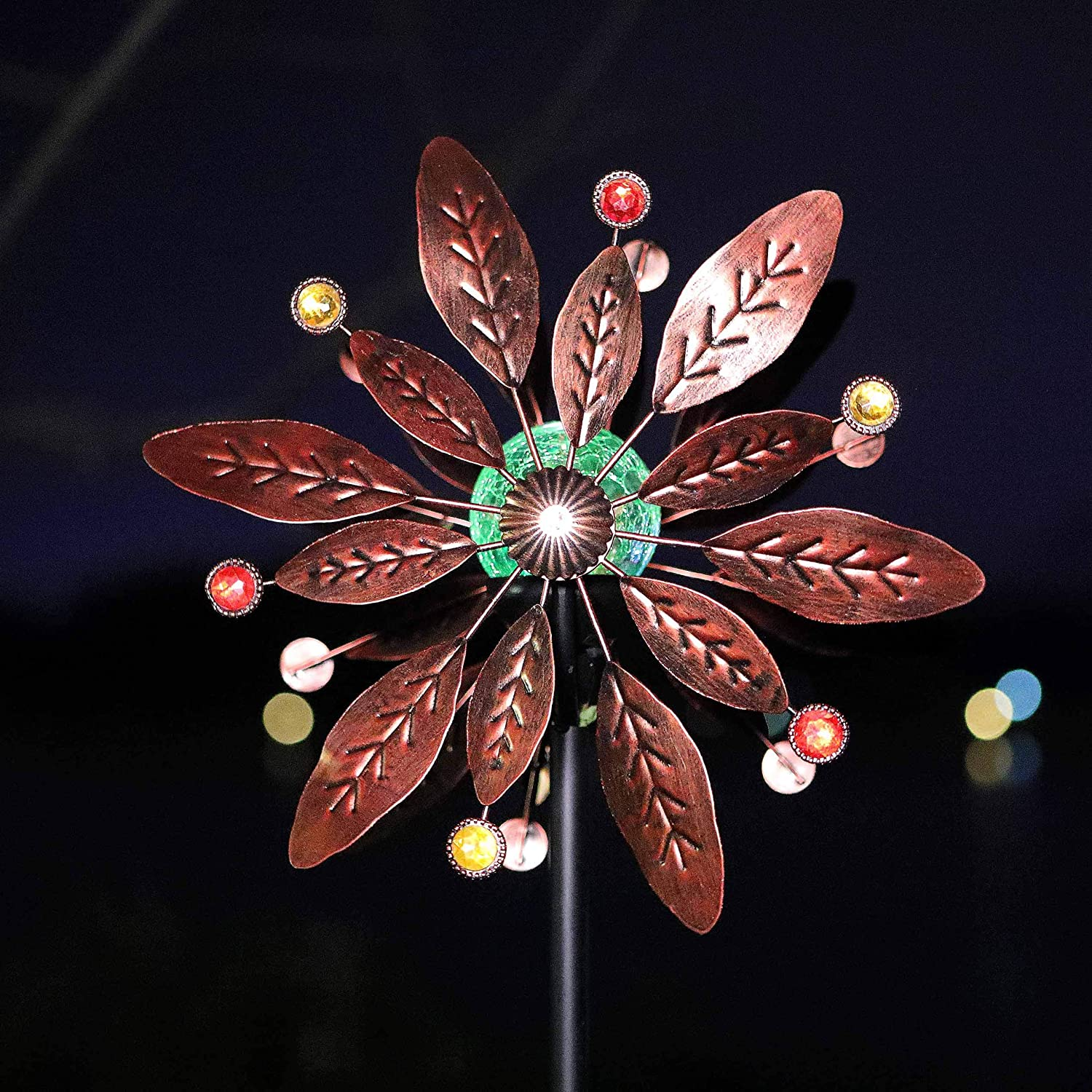 Joyathome 75in Antique Copper Metal Finish Solar Wind Spinner Tree Leaves Color Changing LED Lighting Solar Powered Glass Ball with Kinetic Dual Direction for Outdoor Garden Yard Lawn