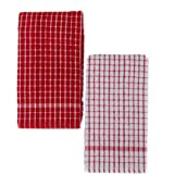 Kuk's Cuisine Kitchen Towels - Ultra Absorbent - 100% Cotton - Size: JUMBO (25.5 in x 17.7 in) - AKA European Tea Towels, Dish Cloths, Dish Towels - Checkered Pattern - Set of Two (Red & White)