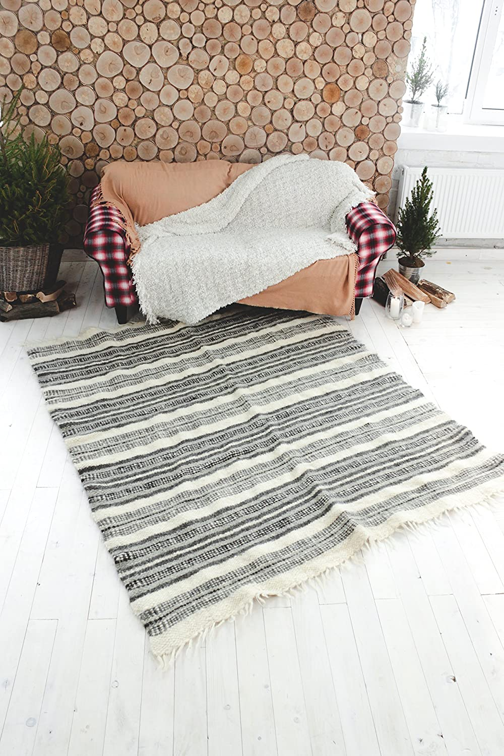 Gray Wool Rug Hand Woven Striped Area Rug Living Room Carpet Black and White Rug