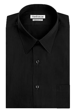 Van Heusen Men's Poplin Regular Fit Solid Point Collar Dress Shirt ...