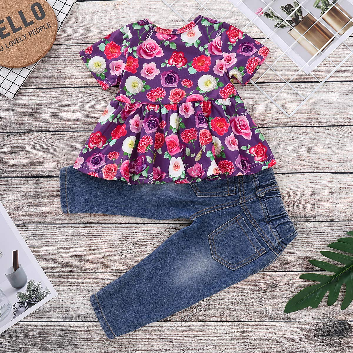 CARETOO Girls Clothes Outfits Cute Baby Girl Floral Long Sleeve Pant Set Flower Ruffle Top