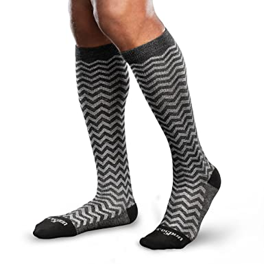 9e1a222525a Amazon.com  Core-Spun Mild (15-20mmHg) Graduated Compression Support  Trendsetter Knee High Socks (Black Grey