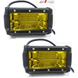 AllExtreme EX7IY2P 7 Inch CREE LedFog Light 24 LED Waterproof Cube Pod Work SpotLamp with Mounting Brackets for Cars and Motorcycle (72W, Yellow Light)