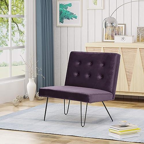 Christopher Knight Home DuSoleil Modern Armless Velvet Chair, BlackBerry, Brown Checkerboard