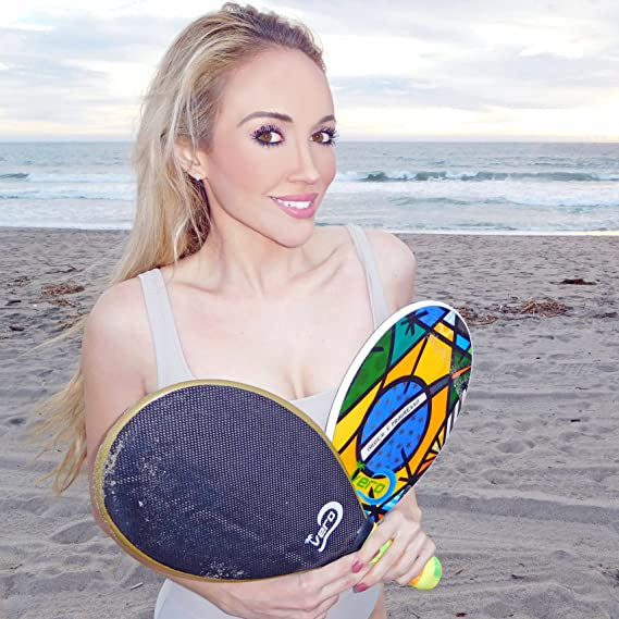 Amazon.com : Vero Frescobol 2 Carbon Fiber Beach Paddleball Paddles, Official Ball, Drawstring Beach Bag : Sports & Outdoors