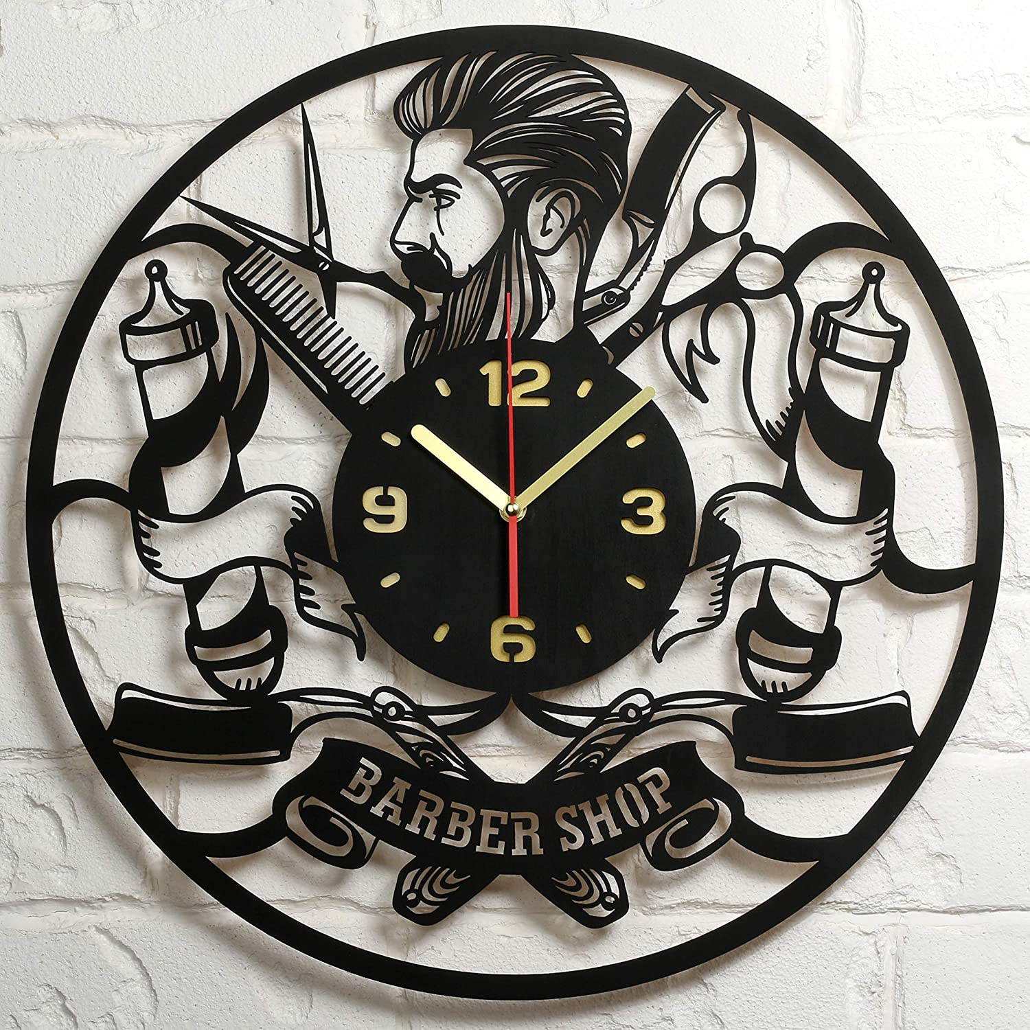 Barbershop Clock Large Wood Wall Clock 16 Inch Hairdresser Barber Clock Hair Stylist Hair Salon Gifts for Women Men Barbers Retro Vintage Old Barber Shop Wall Decor Art Decorations Clock Gift Black