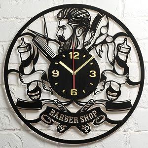 Barbershop Clock Large Wood Wall Clock 16 Inch Hairdresser Barber Clock Hair Stylist Hair Salon Gifts for Women Men Barbers Retro Vintage Old Barber Shop Wall Decor Art Decorations Clock Gift Black