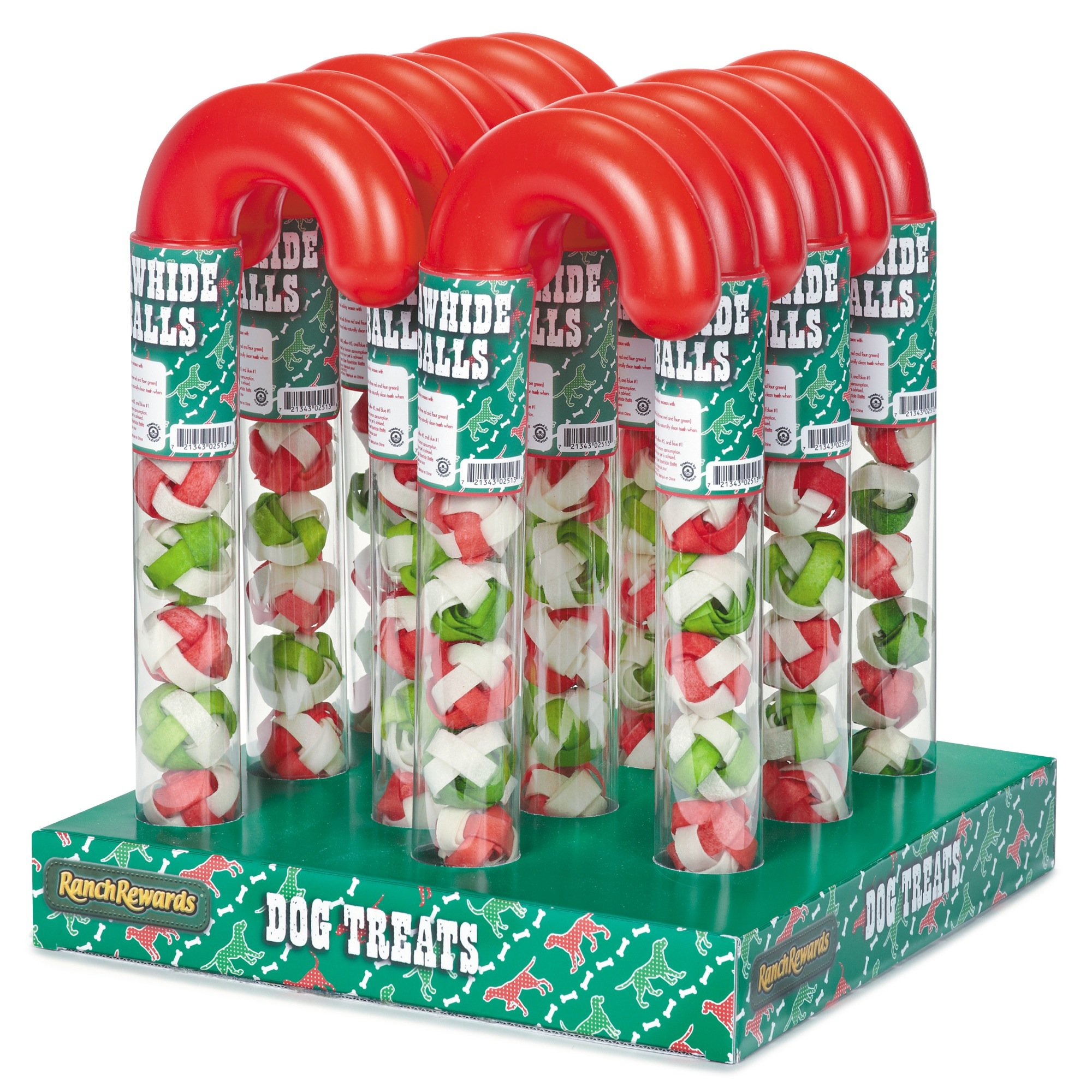 Ranch Rewards Candy Cane Tube Displays Festive Holiday Gifts for Dogs (12 Pack)